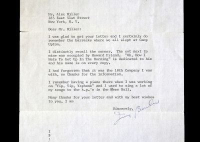 "Irving Berlin Letter Mentioning ""Yap Yap Yaphank"""