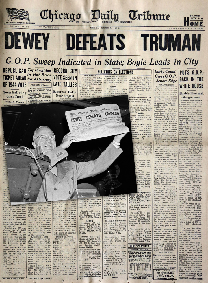 Dewey Defeat Truman Chicago Tribune Front Page - Tapper ...